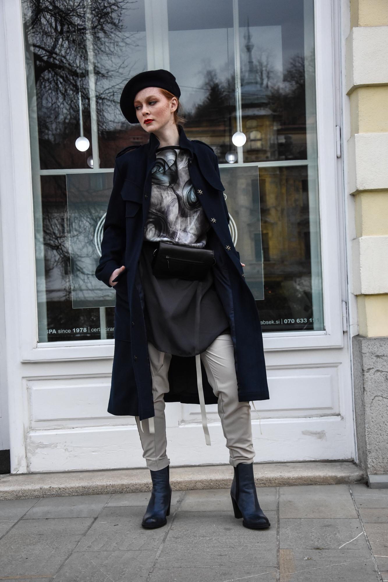 Copy of hlače Nelizabeta/tunika NI/torbica na pasu JSP/plašč Firma by Sanja/beretka Princip