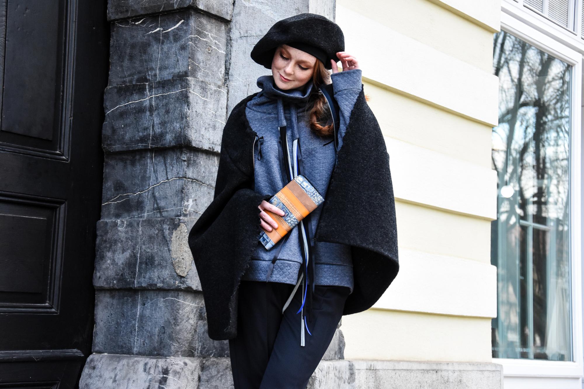 Copy of hlače Firma by Sanja/pulover Tina Pavlin/ogrinjalo in beretka Renata Bedene/broška Ana Lazovska/denarnica Zelolepo