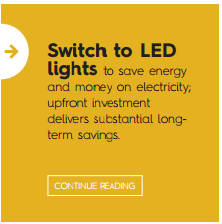 Switch to LED lights to save energy and money on electricity; upfront investment delivers substantial long-term savings.