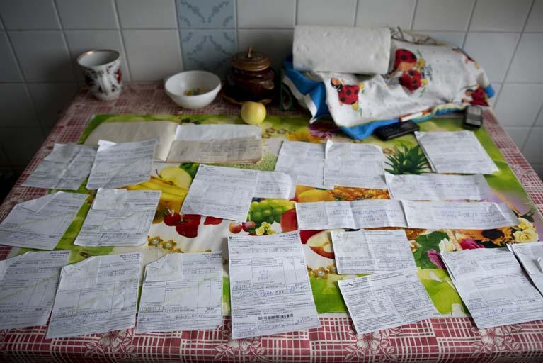 Energy bills of a pensioner in Bobritsya, Ukraine.
