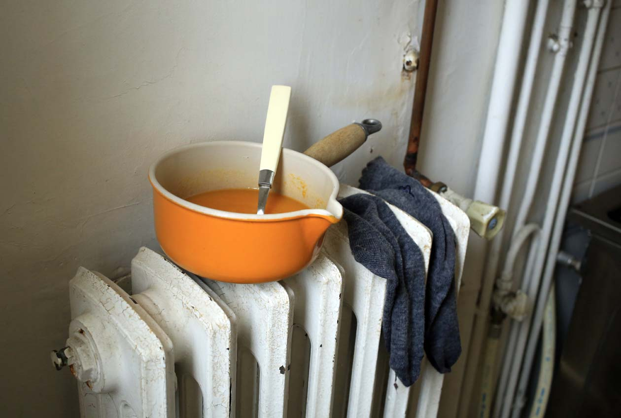 Living in fuel poverty - soup and socks on radiator.