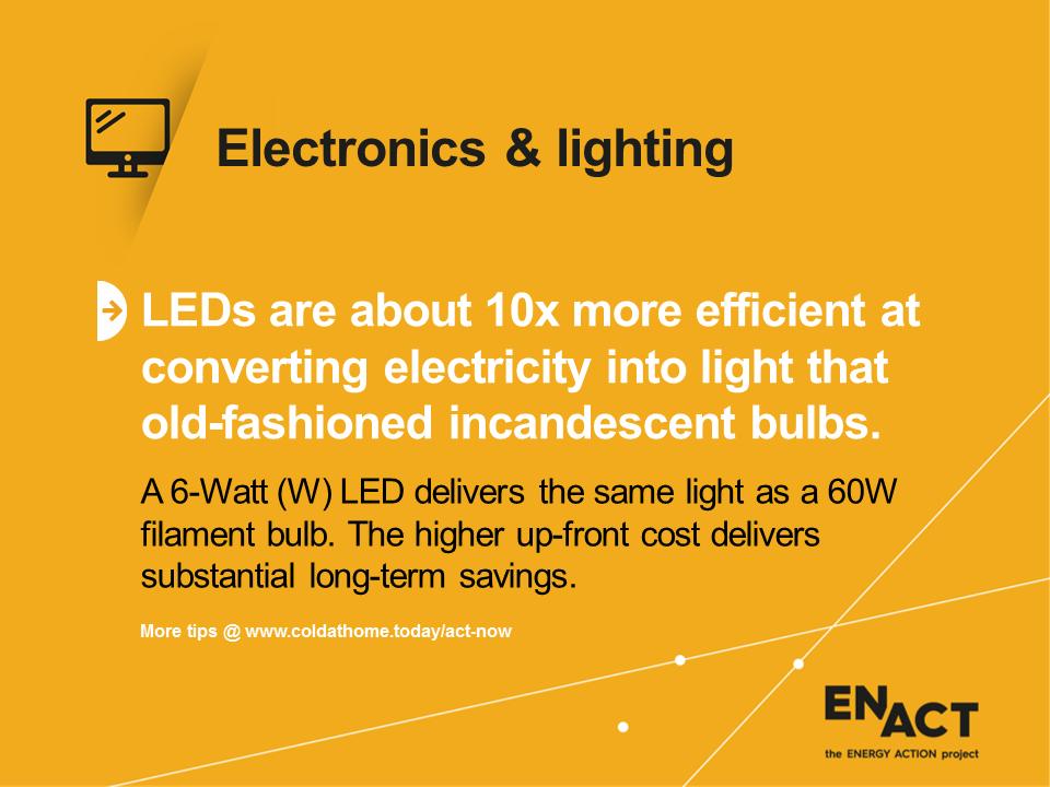 Electronics and lighting energy saving tips about LED bulbs.