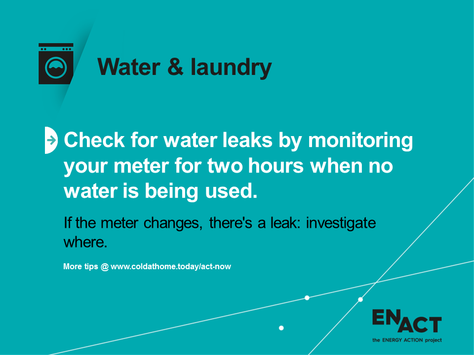 Water and laundry tips for checking leaks.