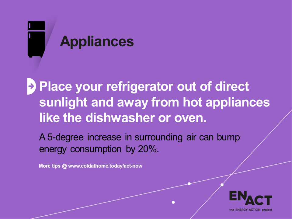 Get your fridge out of direct sunlight to save energy.