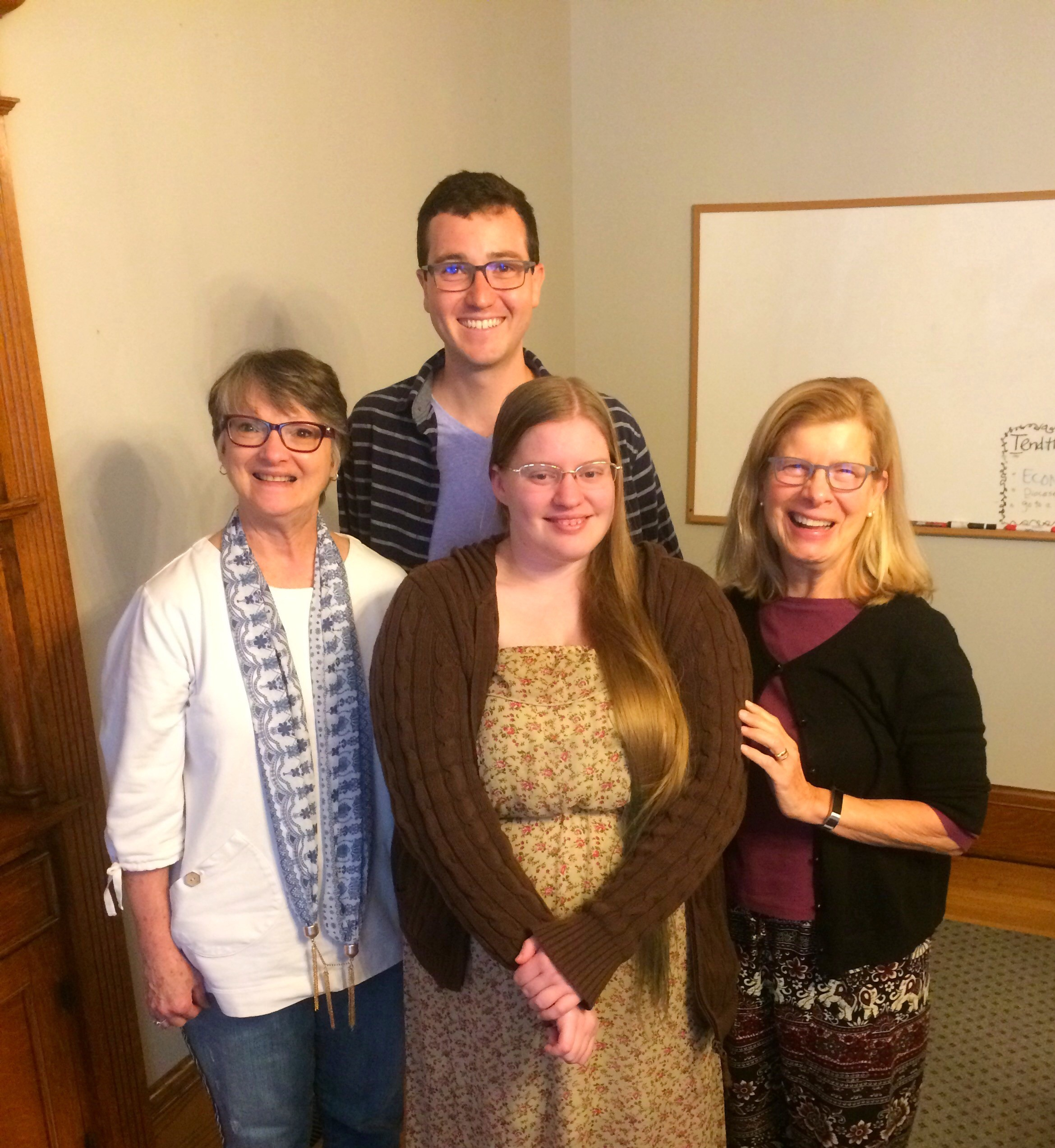 Our 2018-2019 Assisi Fellows with ESC Program Manager Gloria Gallant, and the rev. Canon Gail Avery
