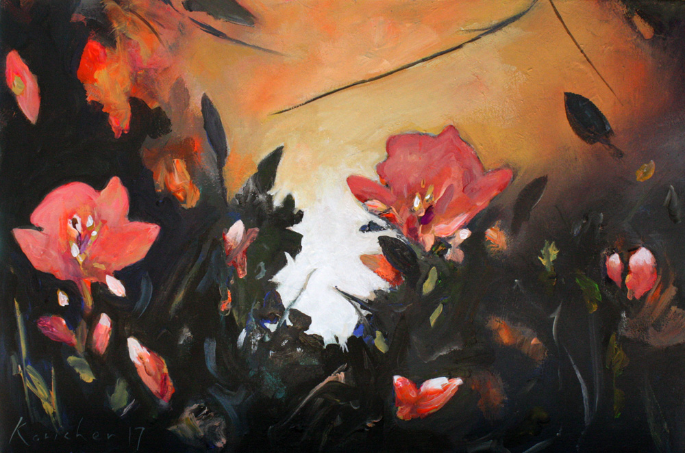 NIGHTFALL WITH RED FLOWERS