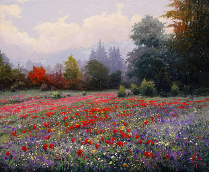 """Campo de Flores"" oil on canvas 18x22"""