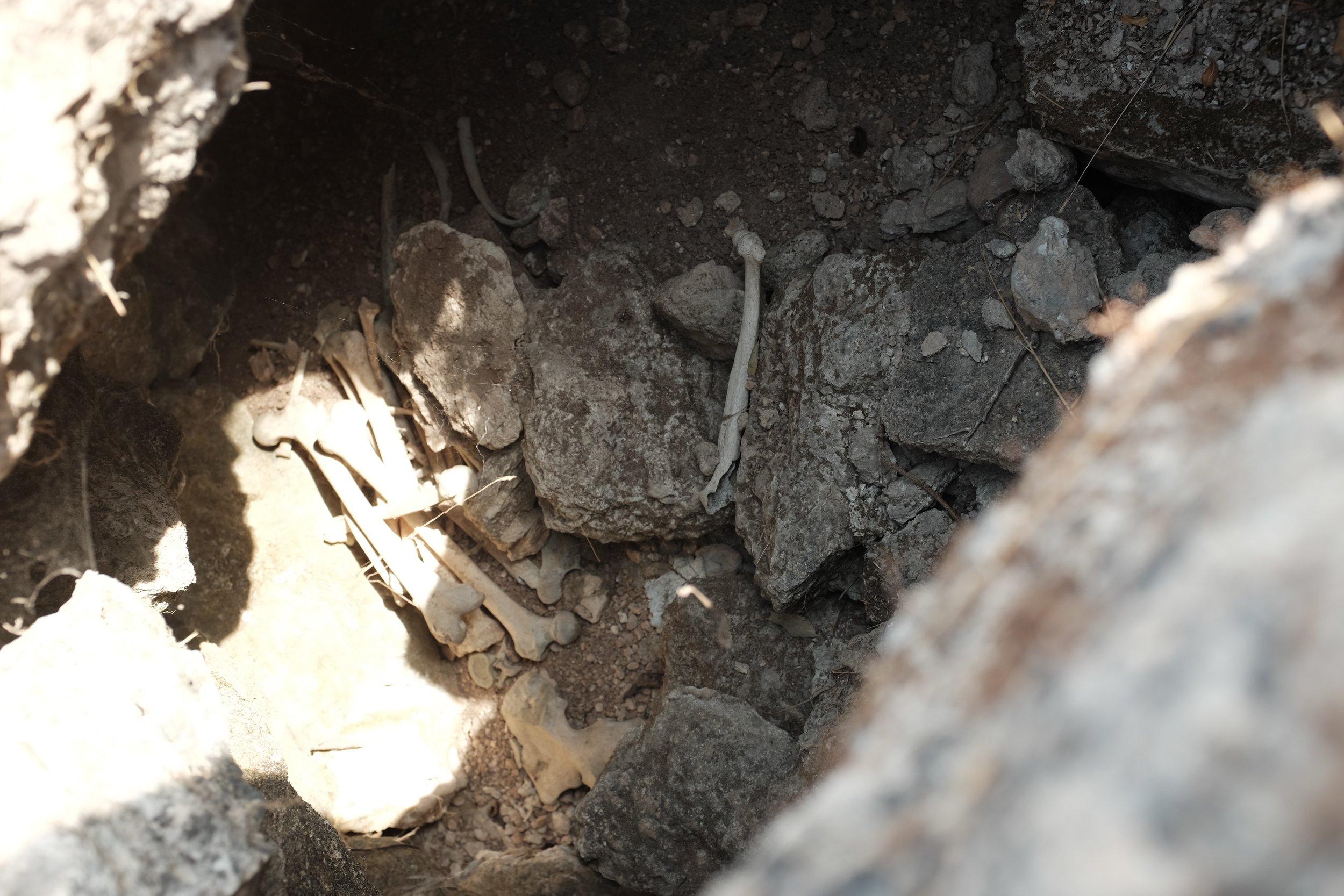 Een van de opengebroken graven van Bayt Nattif