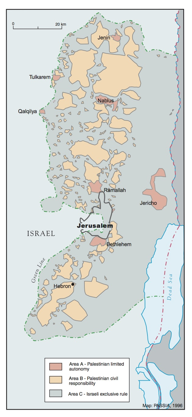 Verdeling ABC-gebieden Bron:  Palestinian Academic Society for the Study of International Affairs