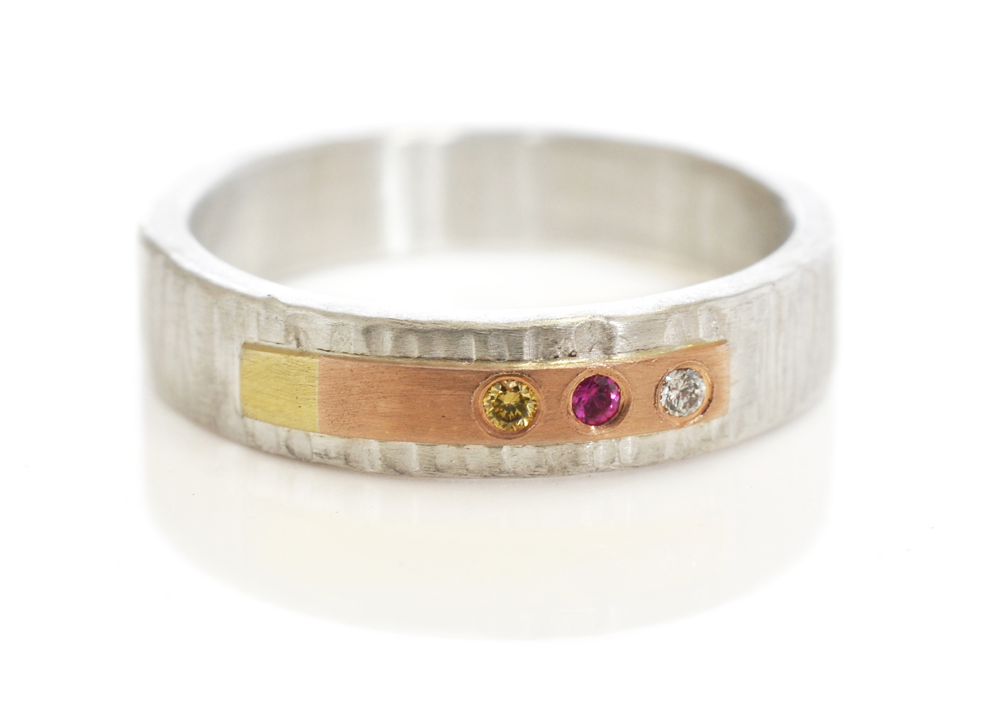 Facere-custom-rivet-ring-linearHammered-sterlingsilver-14kredrosepinkGold-18ky-coloredDiamonds2.jpg