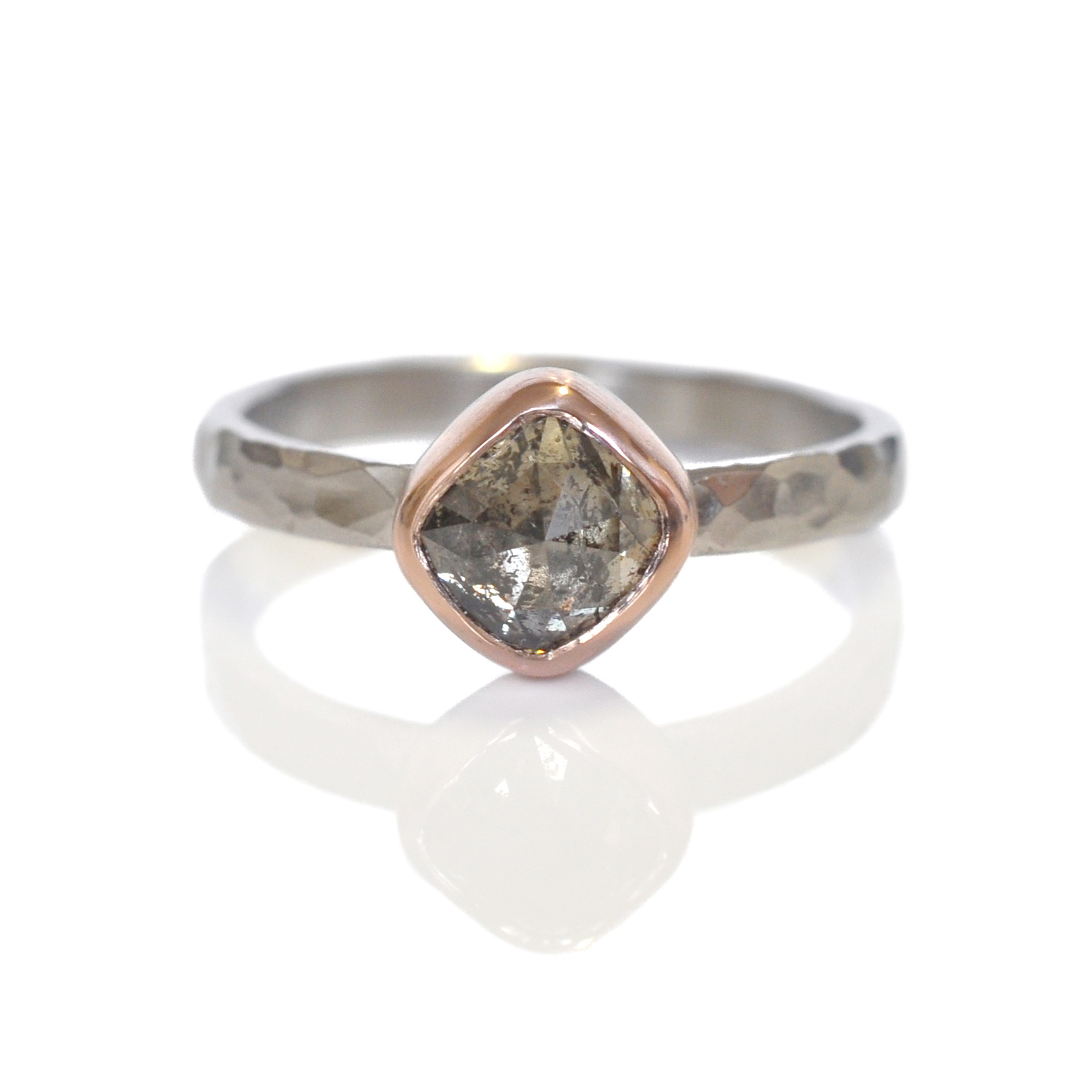 Jessica fell in love with this beautiful champagne rose cut diamond and together they designed the perfect setting for it in 14k red gold and palladium.
