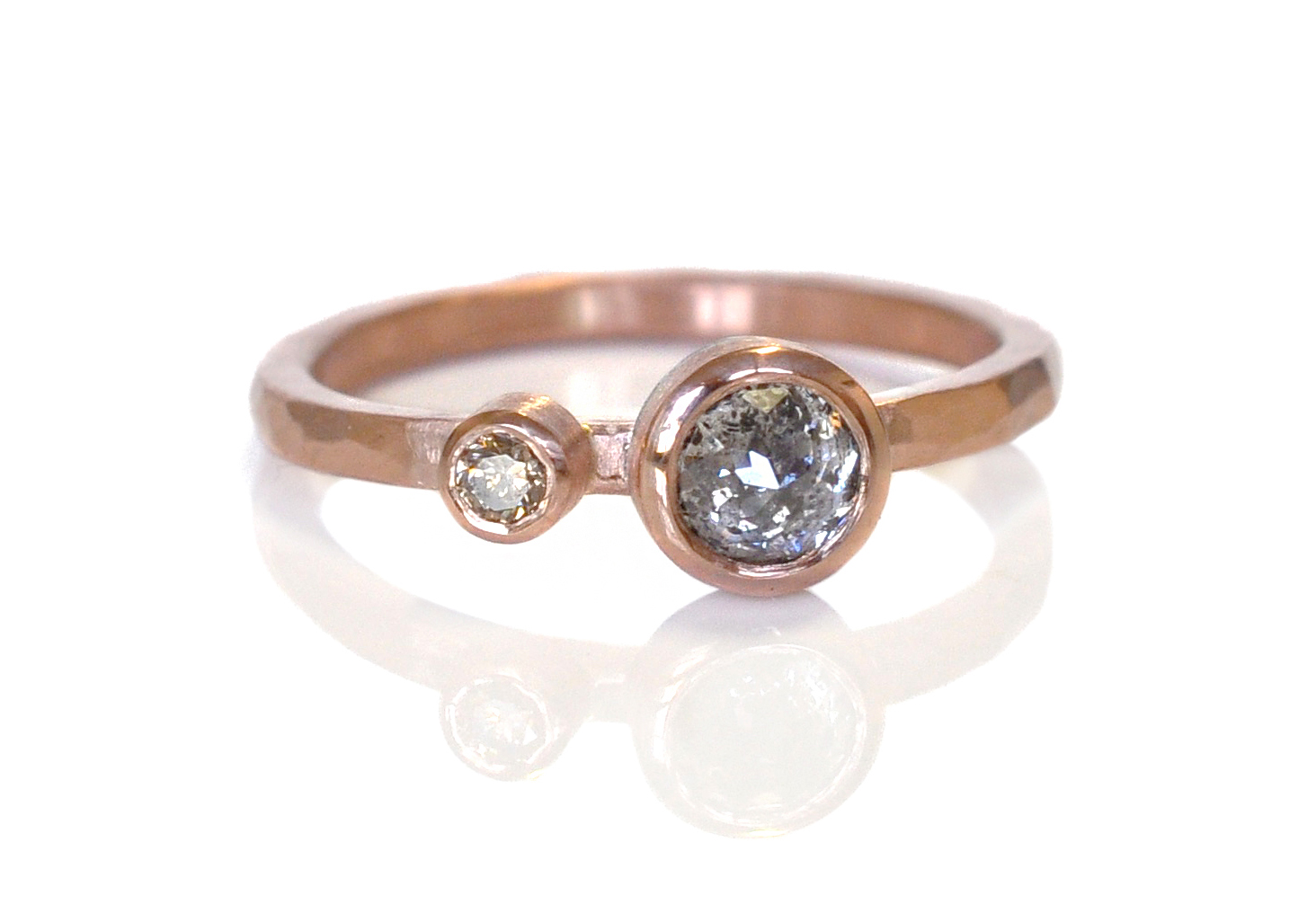 Ali and Jae both ended up with beautiful rings, but this one really just melts my heart <3   Double diamond ring in hammered 14k red gold with a rose cut salt and pepper diamond and a brilliant cut champagne diamond.