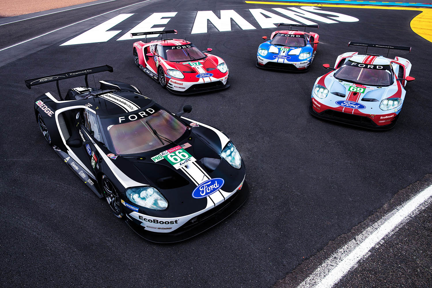 Four GTs together at Le Mans.jpg