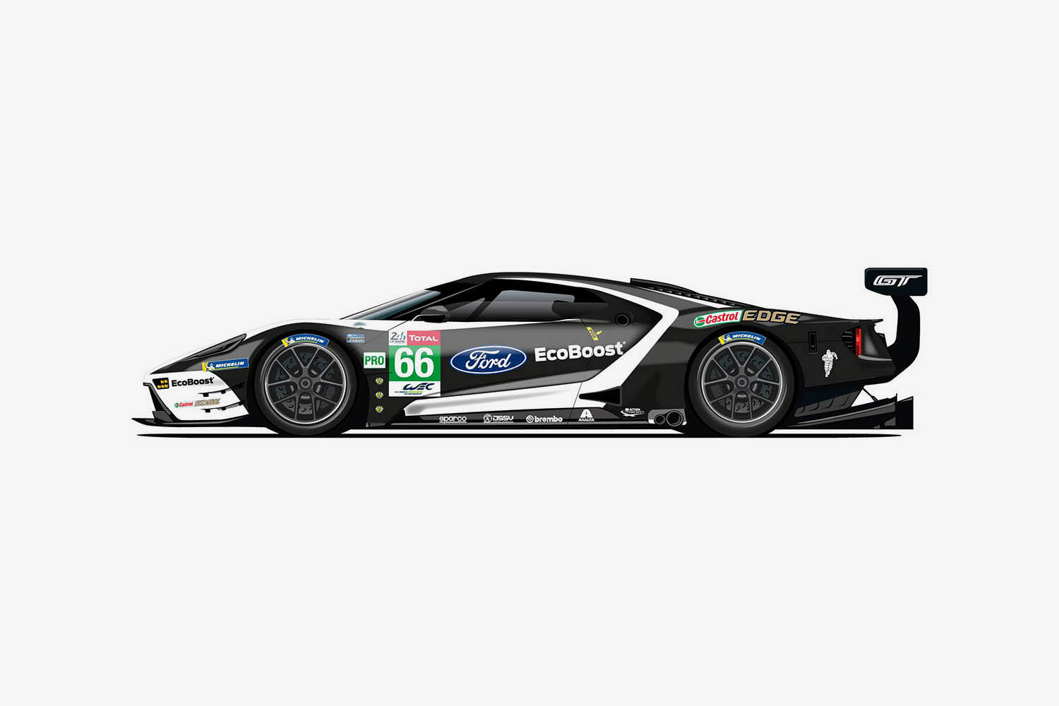 The 66 Ford GT has a black livery that echoes Le Mans in 1966.jpg
