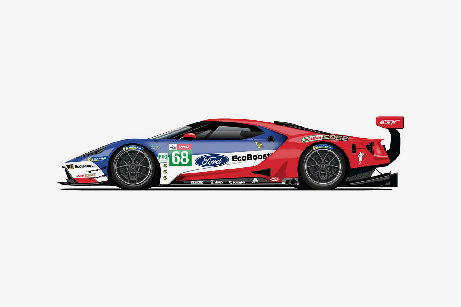 The 68 Ford GT is Fords most recent Le Mans winner.jpg