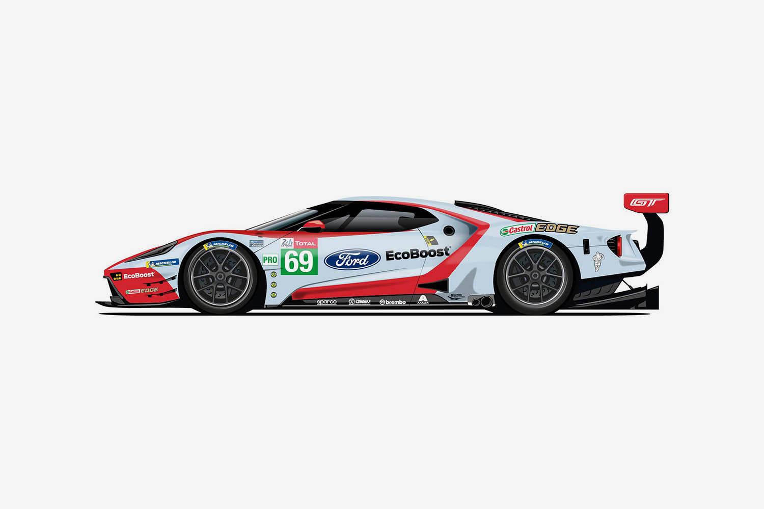 The 69 Ford GT takes design cues from the 2nd  GT40 in Fords glorious 1-2-3 finish.jpg