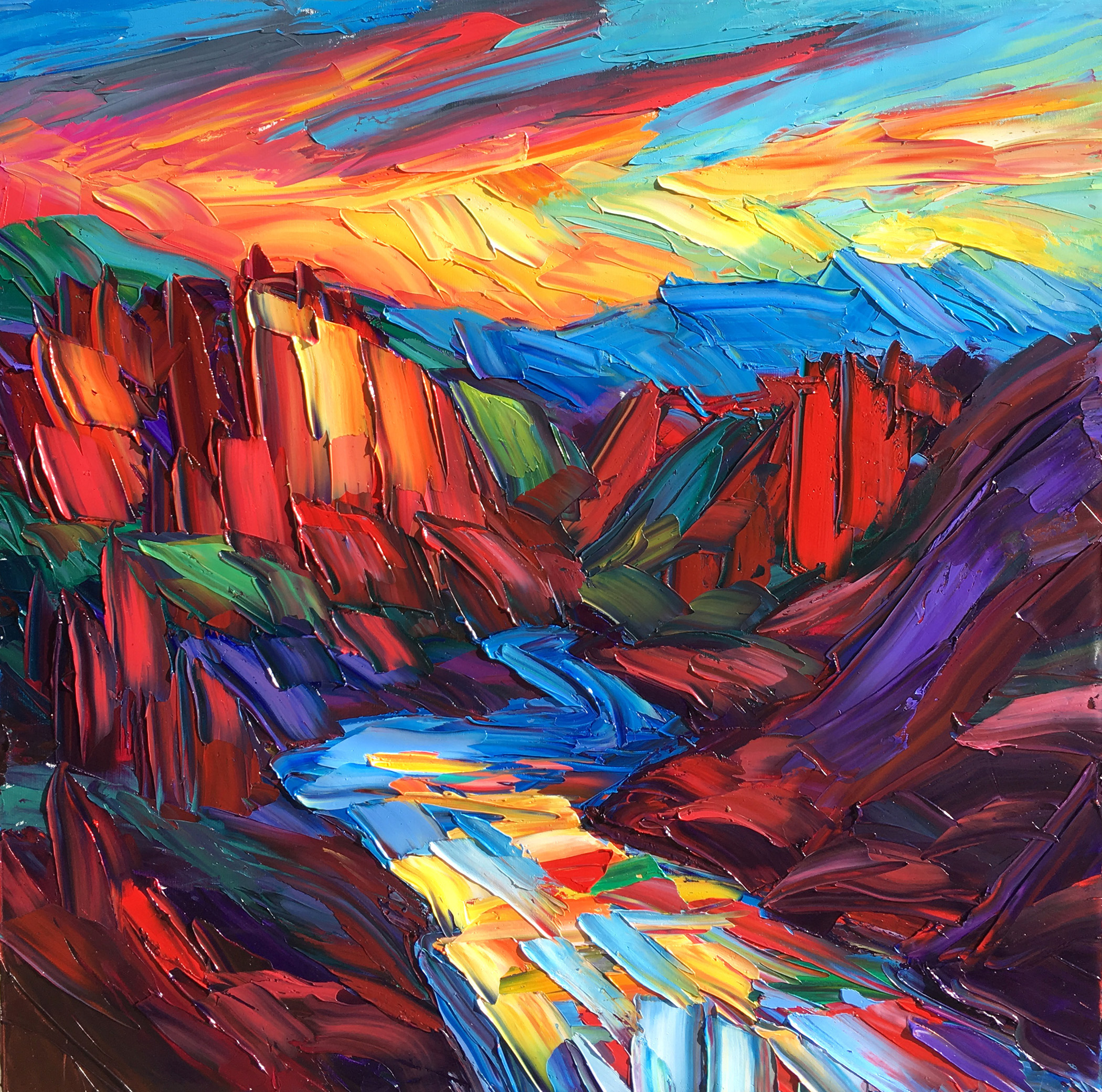 Greg Dye - http://www.gregdye.comUsing a palette knife I apply spontaneous strokes of thick oil paint, one on top of the other. I do not think about it, I just react to the paint and the emotional energy within myself.