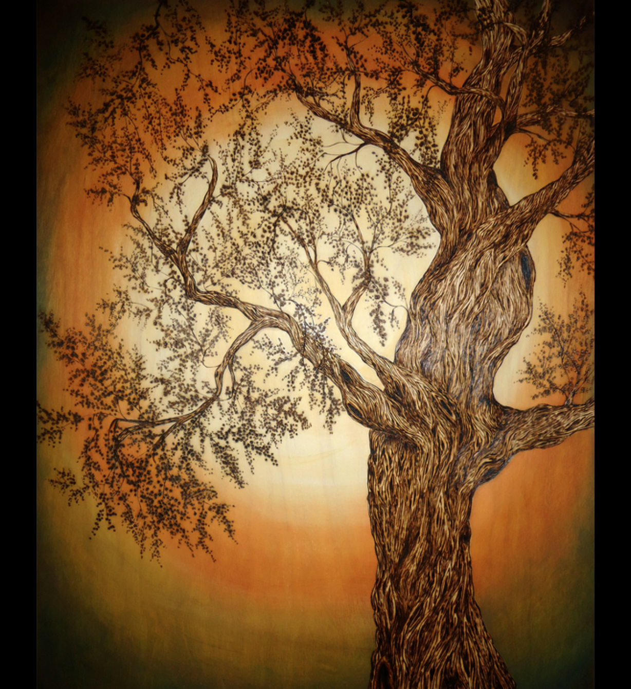 Vicki Hamende - http://www.wonderwalldesigns.comA combination of wood burning(pyrography) & oil painting on handmade birch canvas.Designs are burned into the wood.I gouge the wood creating depth & texture. Each piece is then enhanced with oil paint