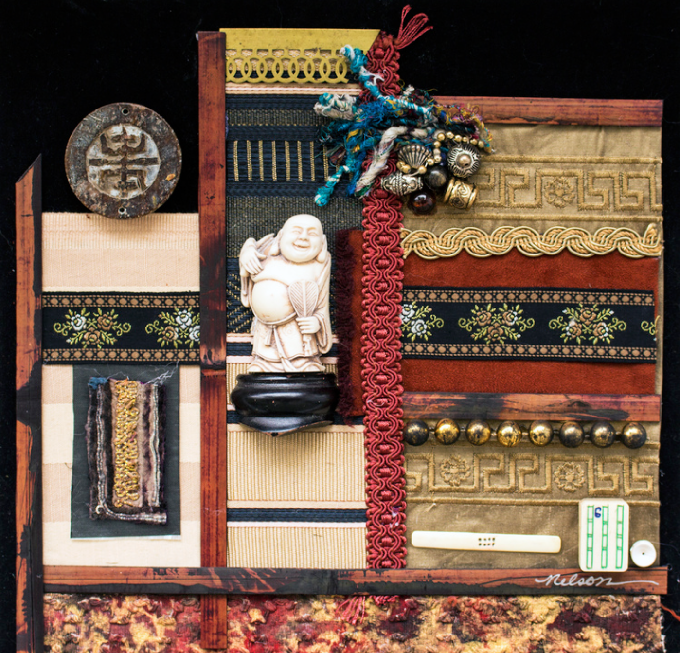 Jo Nelson - Asian assemblage, composition fiber embellished w/recycled Asian antiques presented as a painting.