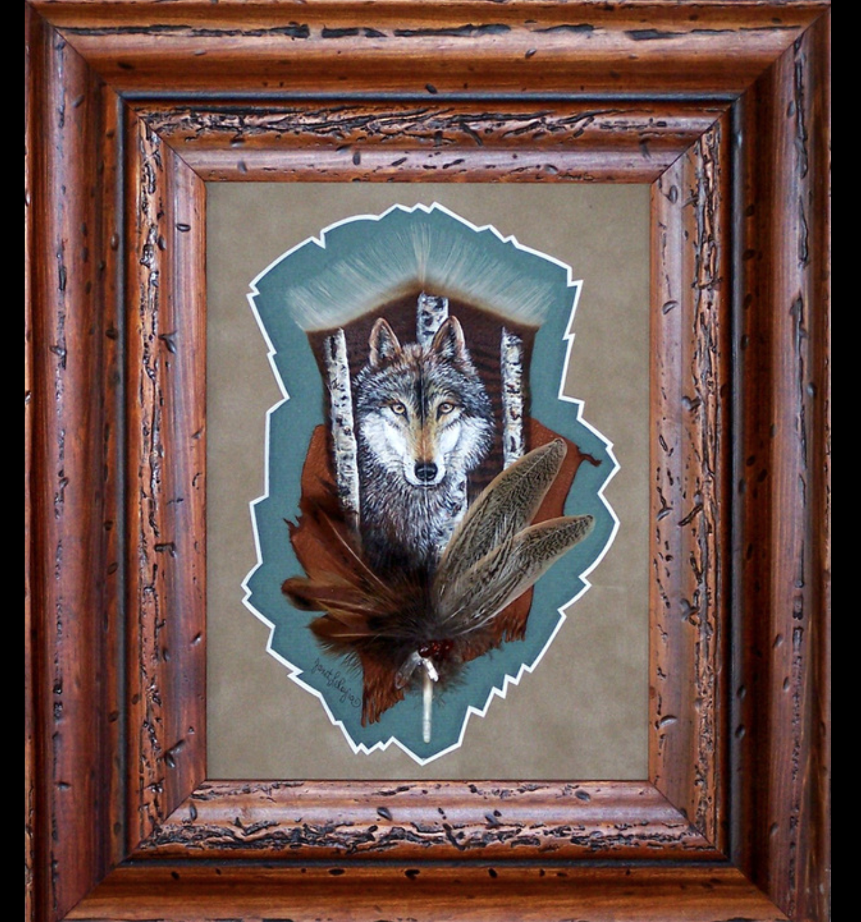 Janet LeRoy - http://www.janetleroy.comI use Acrylic to hand paint turkey feathers in Wildlife, Western and Native American designs. I then accent my pieces with smaller feathers. My matting is all hand carved and I custom frame each piece