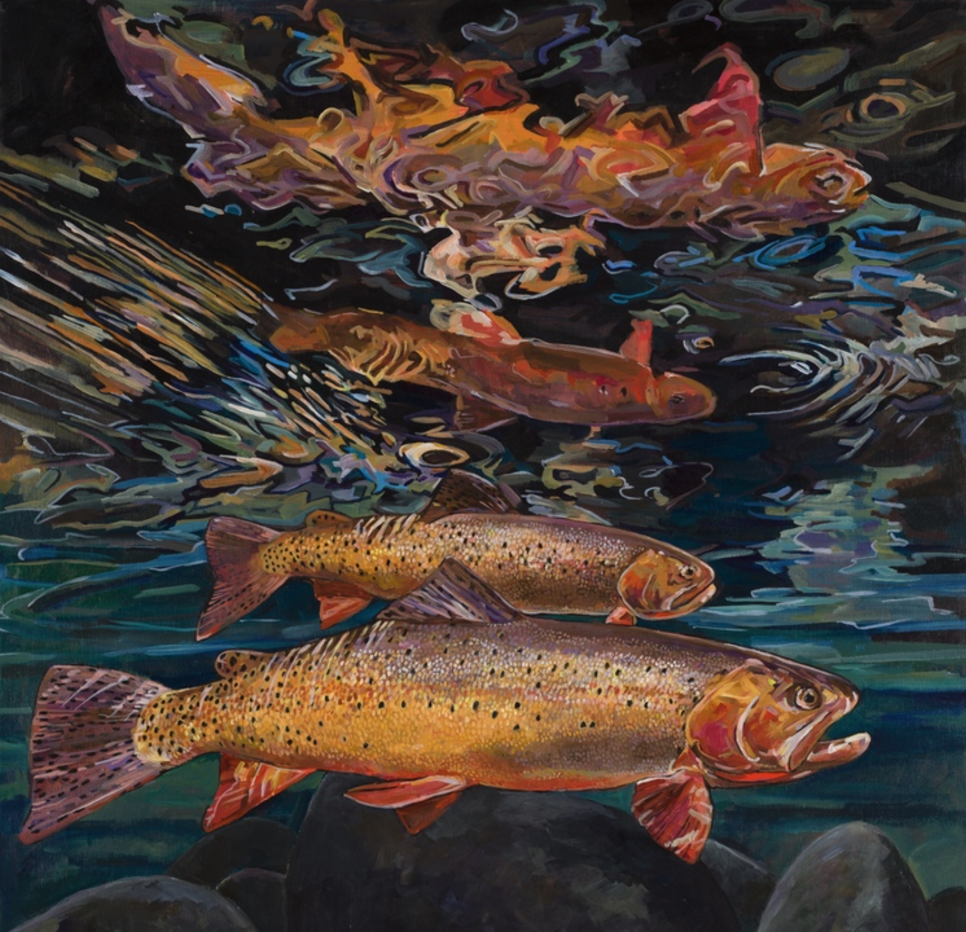 Josh Udesen - http://www.tightlinestudio.comMy acrylic paintings are layered washes on framed birch panels focusing on unique perspectives.