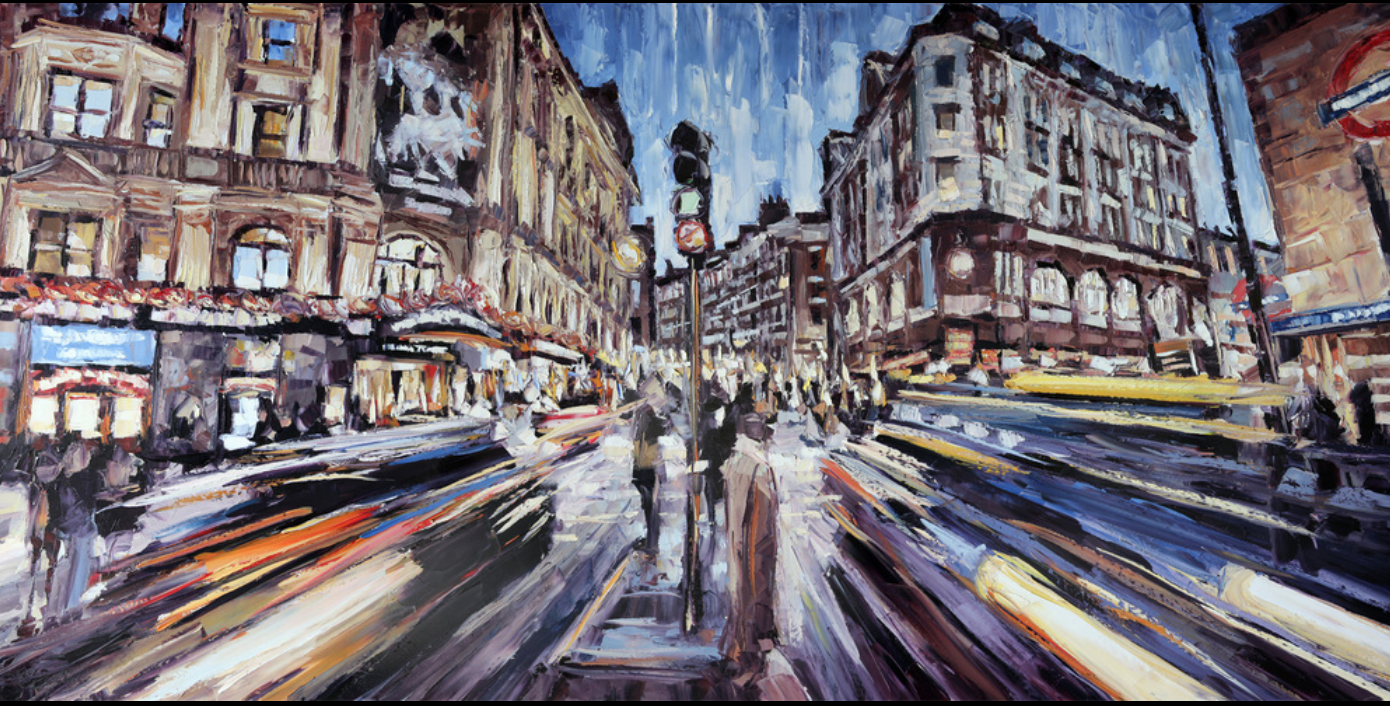 Roger Disney - http://www.rogerdisney.comWith long shutter speeds and dusk lighting the artist captures urban photos from around the world and returns home to interpret them in the studio with these large scale palette knife oils on canvas.
