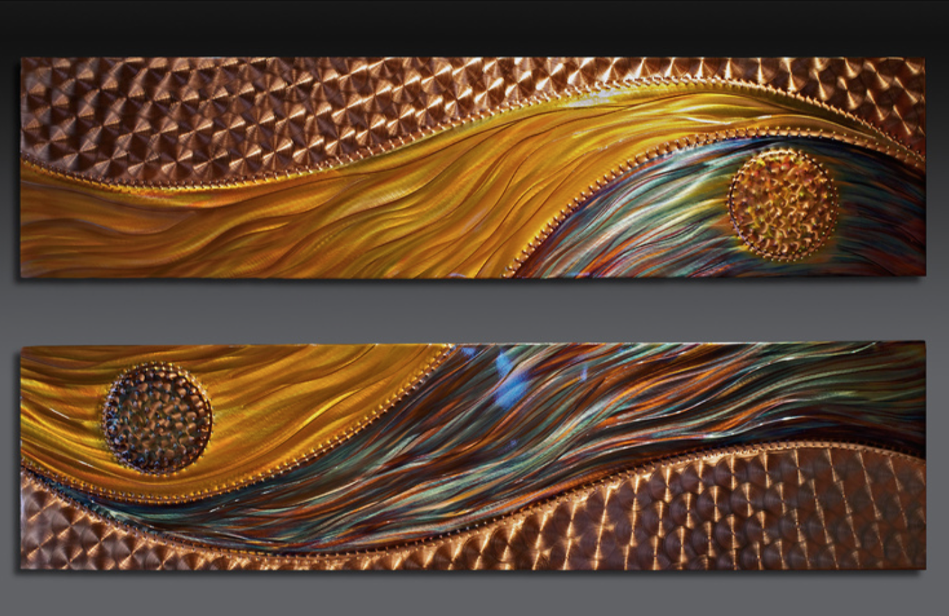Judy & David Hedblom - http://www.claymooncopper.comHandcrafted copper creations integrating advanced flame painting with buffed & sculpted aspects.