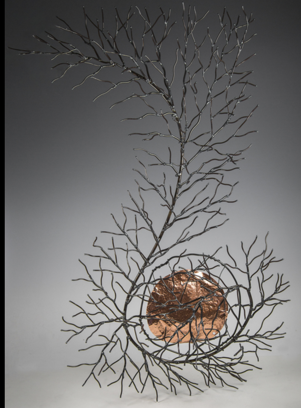 Chris Swedzinski - Using steel, copper, glass and stone I weld, forge, grind and polish to bring the beauty of nature into sculpture. My mission in art is to use as much recycled material as possibe and make it new.