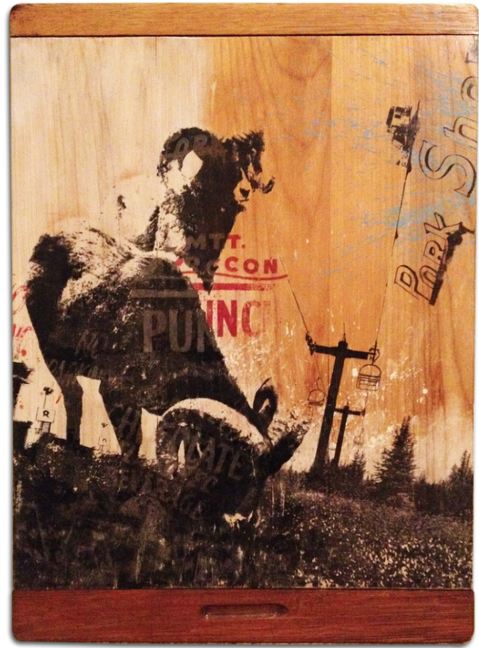 Brett Matarazzo - http://tarazzoVO.comEnvironmentally conscious art that uses post industrial reclaimed wood as canvas. Mixed media consisting of paint, ink, untraditional digital transfer, and laser etching.