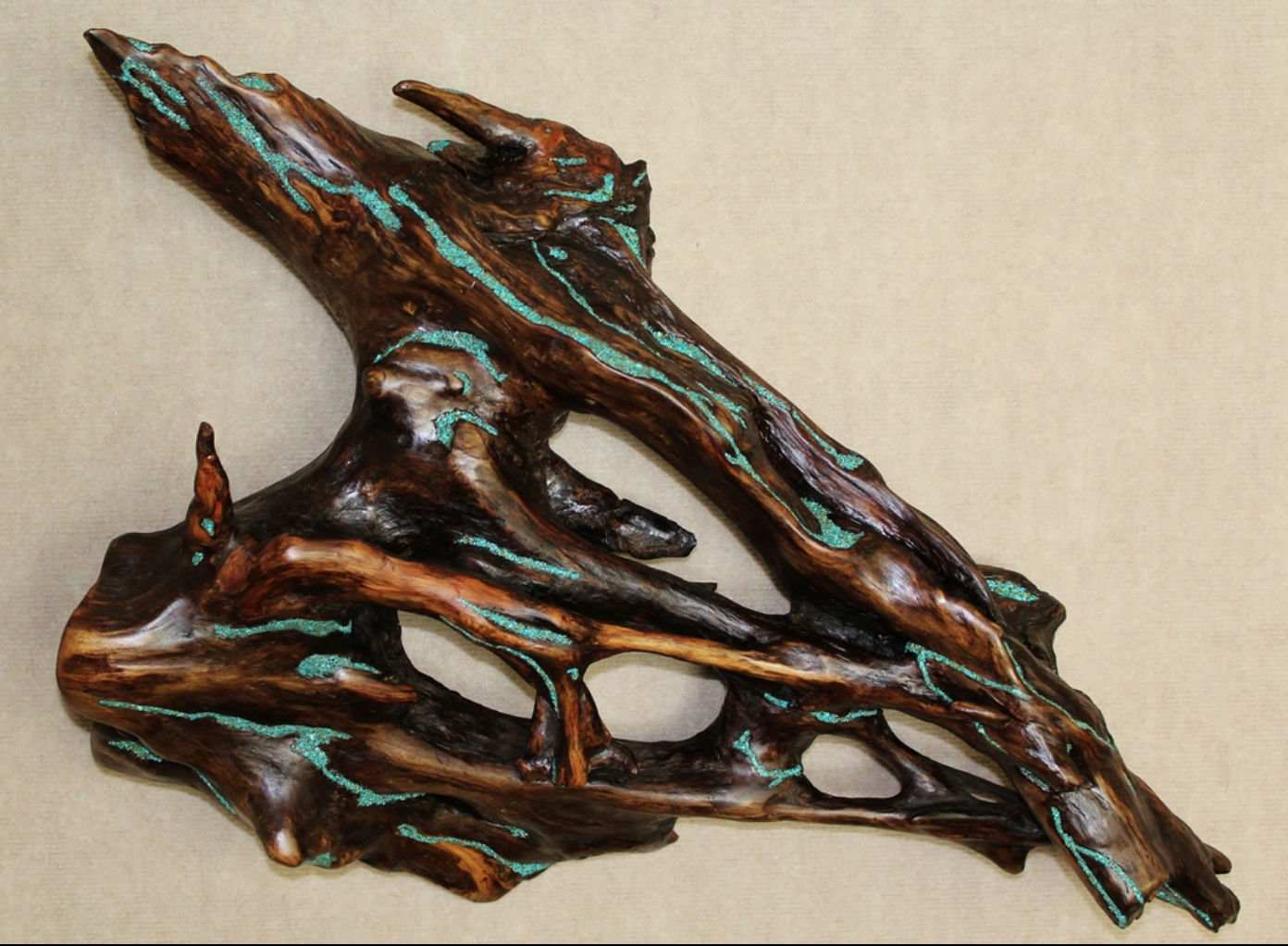 David Savage - Personally collected driftwood pieces transformed into sculpture, wall art, lamps and bowls.Each piece is inlayed with turquoise,finely sanded and finished with hand rubbed oils.