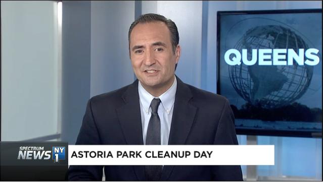 Dozens of volunteers team up to beautify Astoria Park.