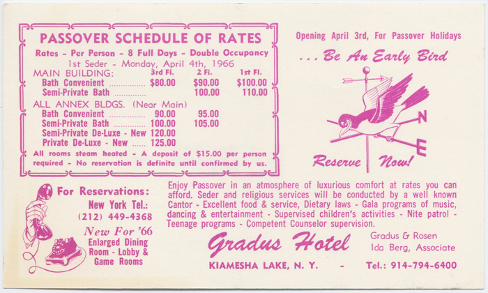Postcard advertising rates for rooms and accomodations at the Gradus Hotel in Kiamesha Lake, NY, for the Passover holidays in 1966..jpg