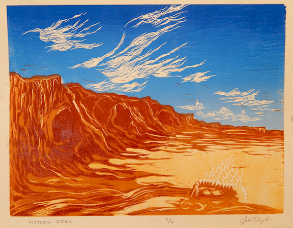 "Assignment:  Getting Lost /Significance of Place   Media: three color reduction relief print  Size: 14"" x 11"""