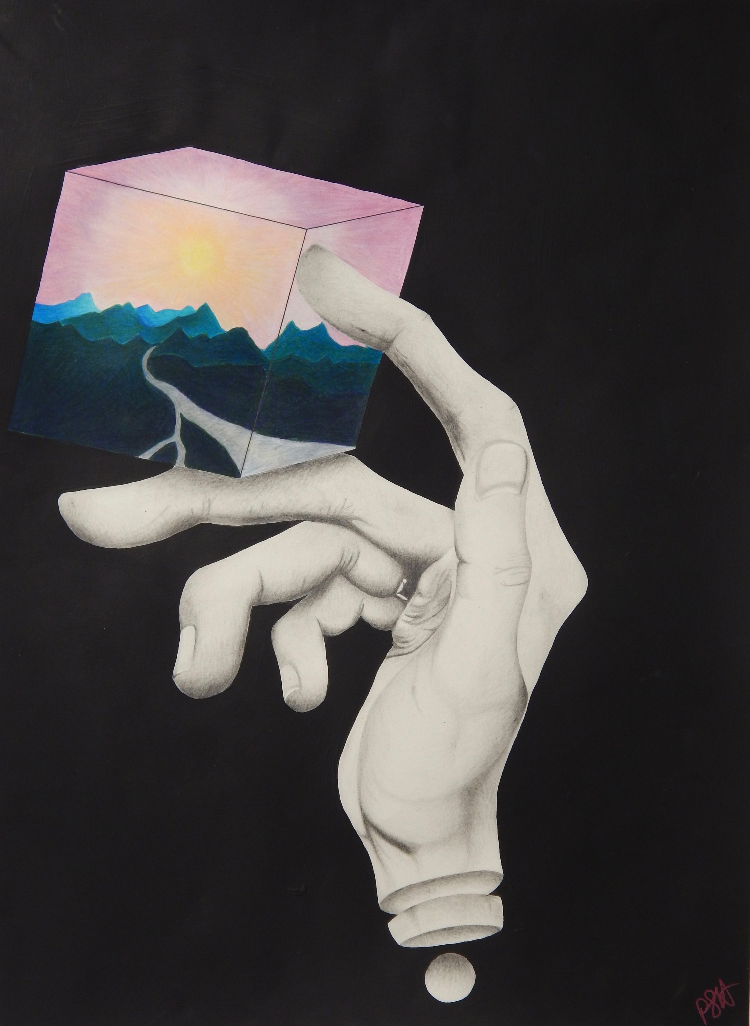"""Assignment: Psychological Space with an Unexpected Element (Surrealism)   Media: graphite and colored pencil  Size: 30"""" x 22"""""""