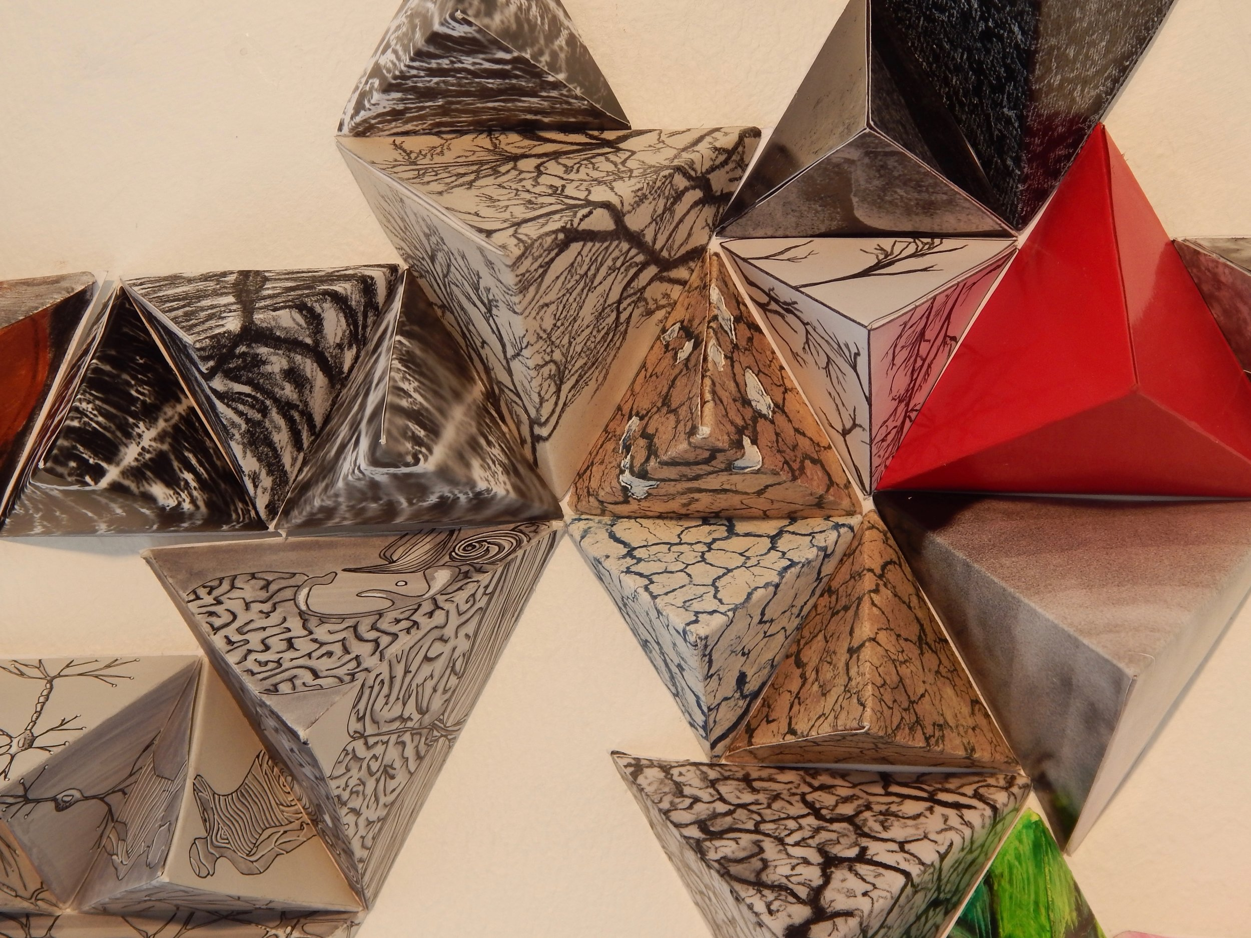 """Assignment:  Systems: Drawing in Space,  Collaborative Project (detail)  Media: mixed media  Size: 3' x 6' x 3"""""""