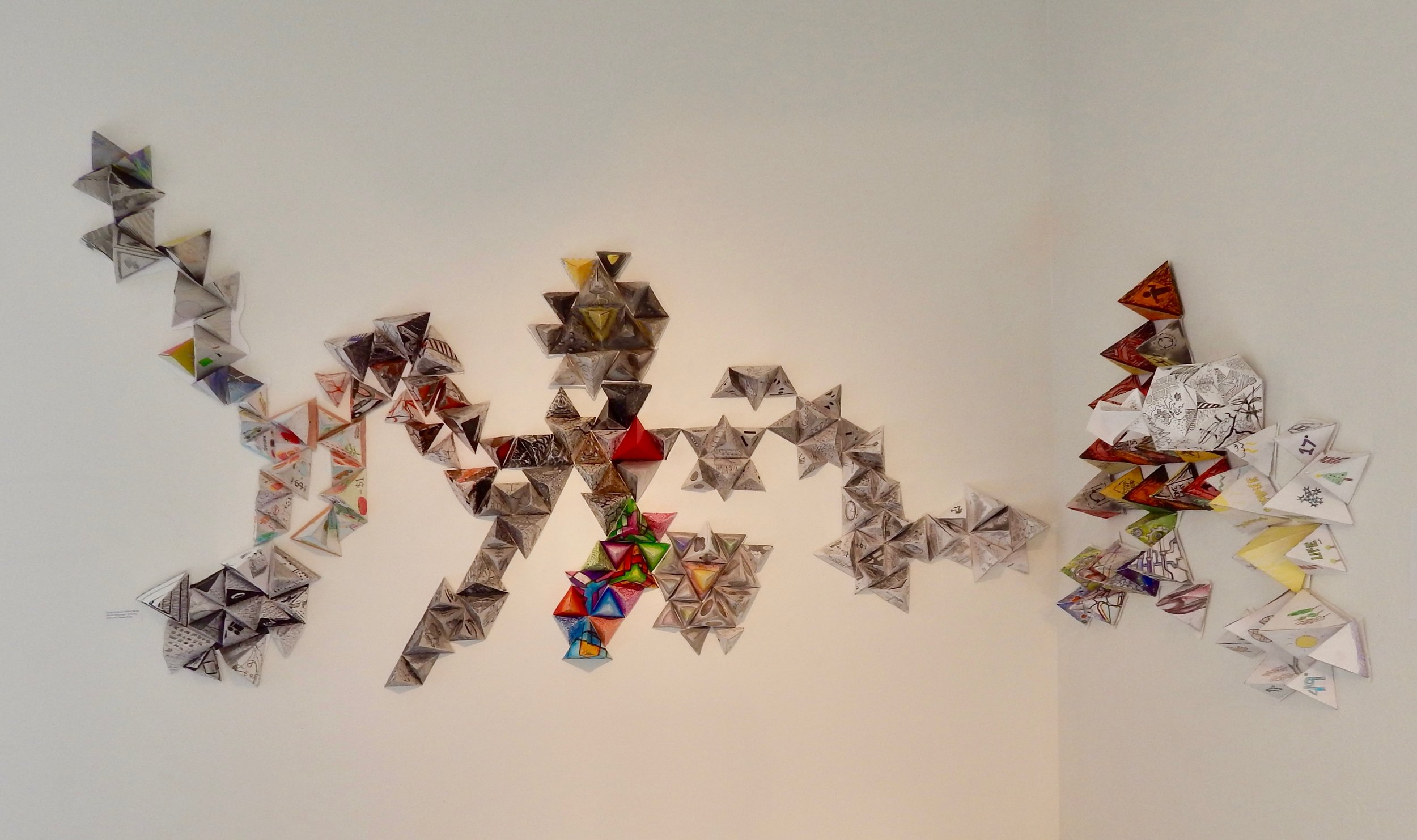 """Assignment:  Systems: Drawing in Space,  Collaborative Project  Media: mixed media  Size: 3' x 6' x 3"""""""