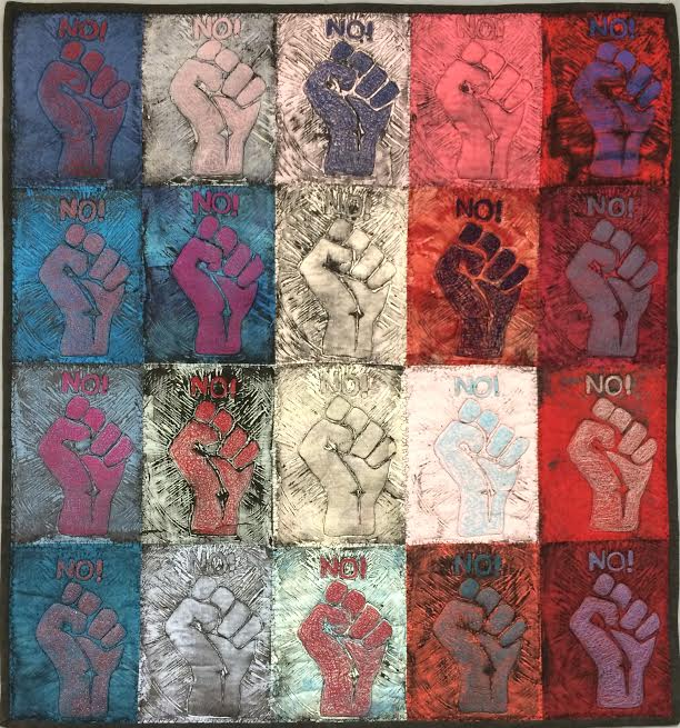 Assignment:  Mixed Media Printmaking   Media: relief prints on fabric with embroidery  Size: 3' x 3'