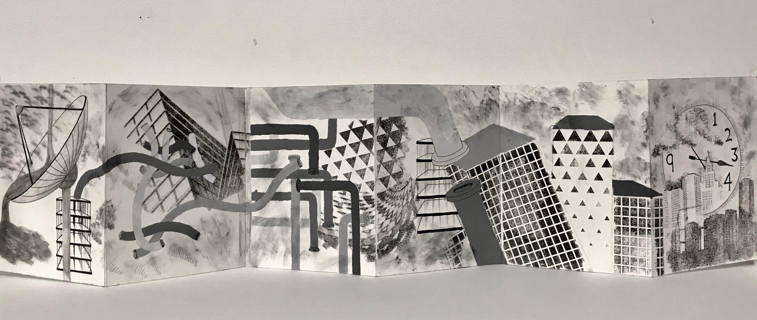 """Assignment: Principals of Design Accordion Book   Media: graphite, micron pens, and gesso on Bristol board  Size: 7"""" x 28"""""""