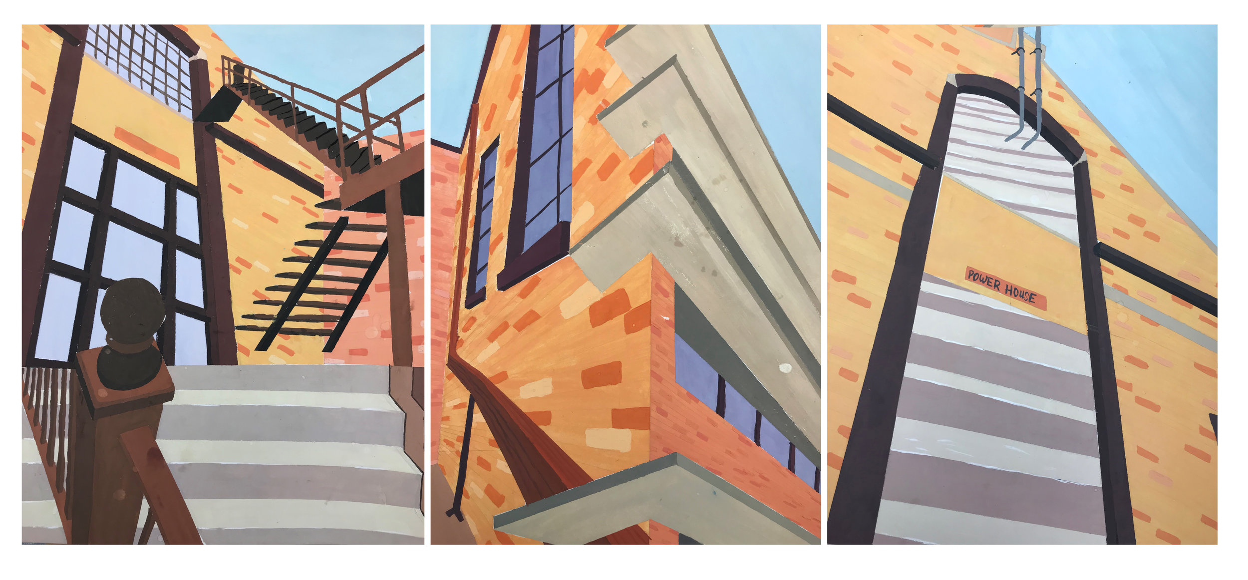"""Assignment: Personal Narrative and Abstracting Color   Media: gouache on Bristol board  Size: 14"""" x 33"""""""
