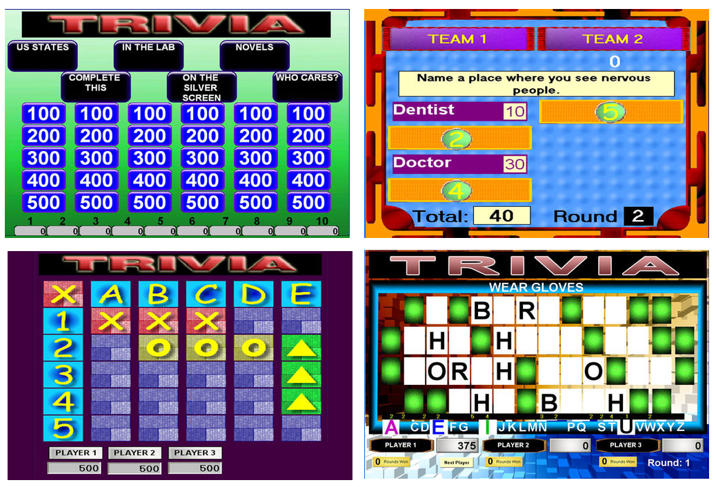 These programs allow you to perform games  in the likeness of  Jeopardy ®, Hollywood Squares ®, Family Feud ®, and Wheel of Fortune ®.