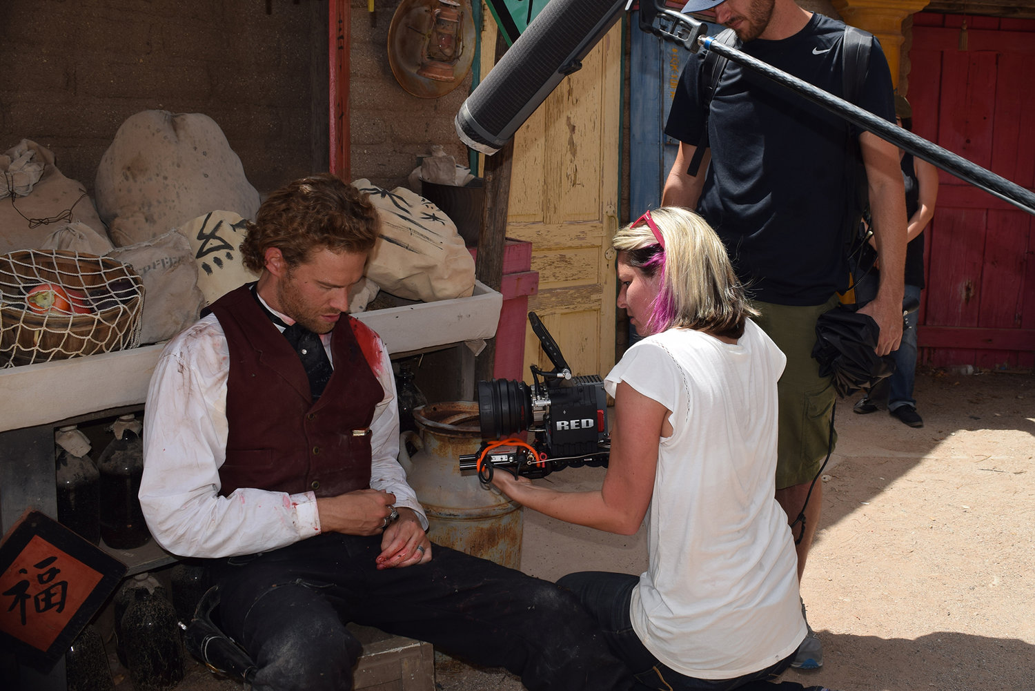 Lexie shooting a scene with Paul Haapaniemi