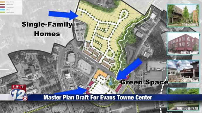 A draft plan for Evans Towne Center. Courtesy of WRDW (wrdw.com)