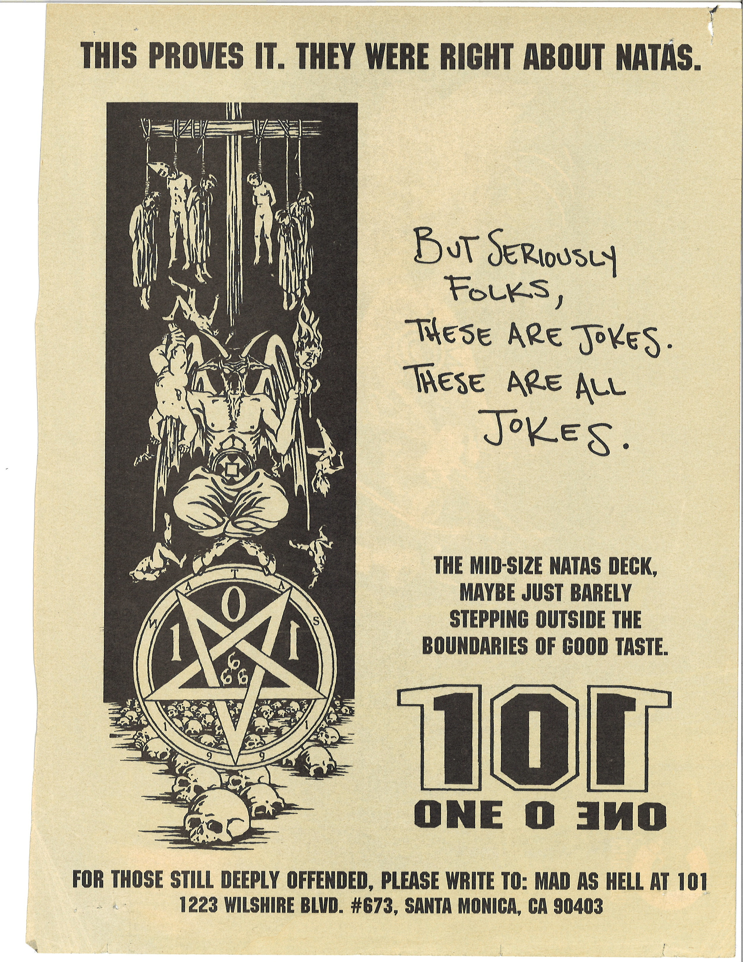 Dwindle Heritage 101 Skateboards Original Natas Devil Worship deck ad 1991