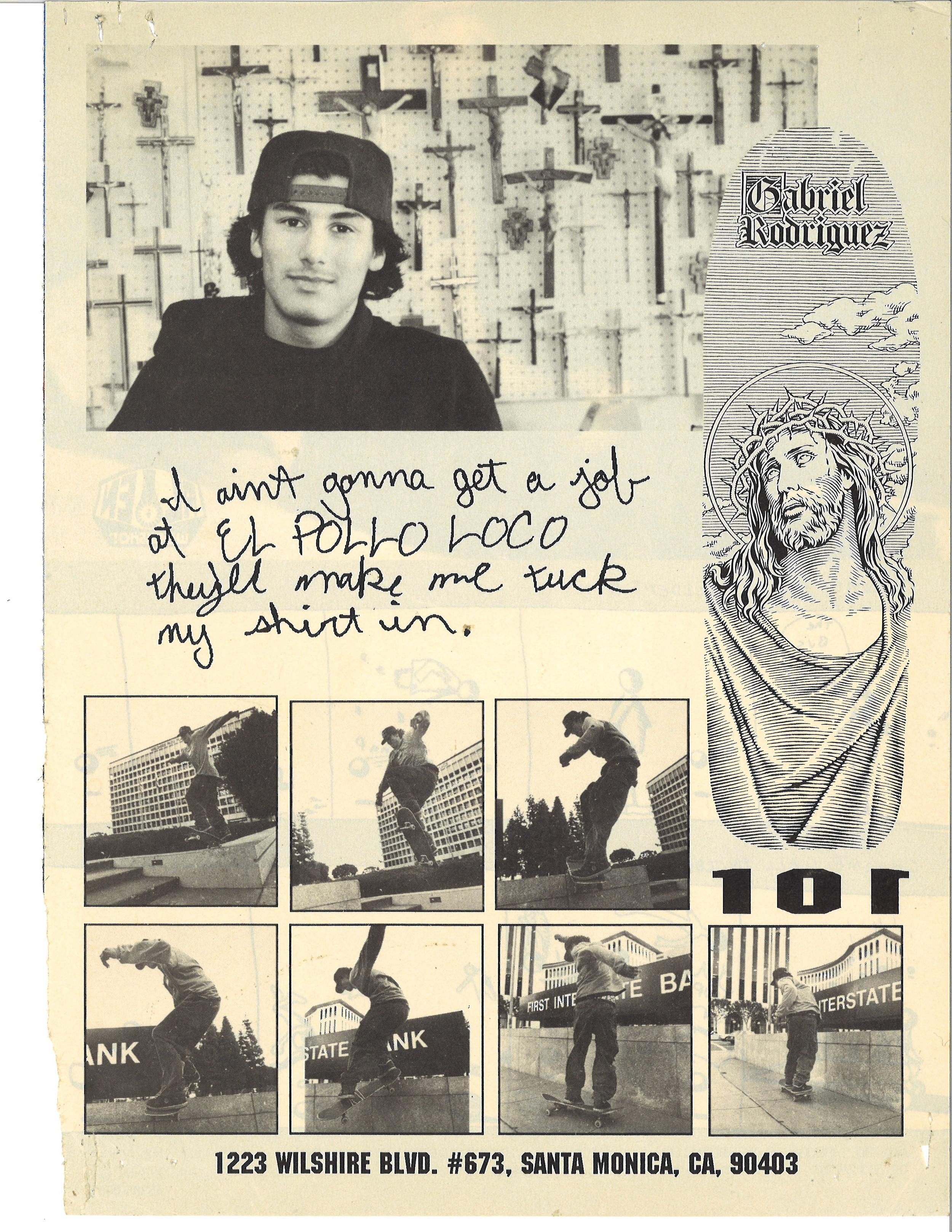 Dwindle Heritage 101 Skateboards Original Gabriel Rodriguez Jesus deck ad 1991