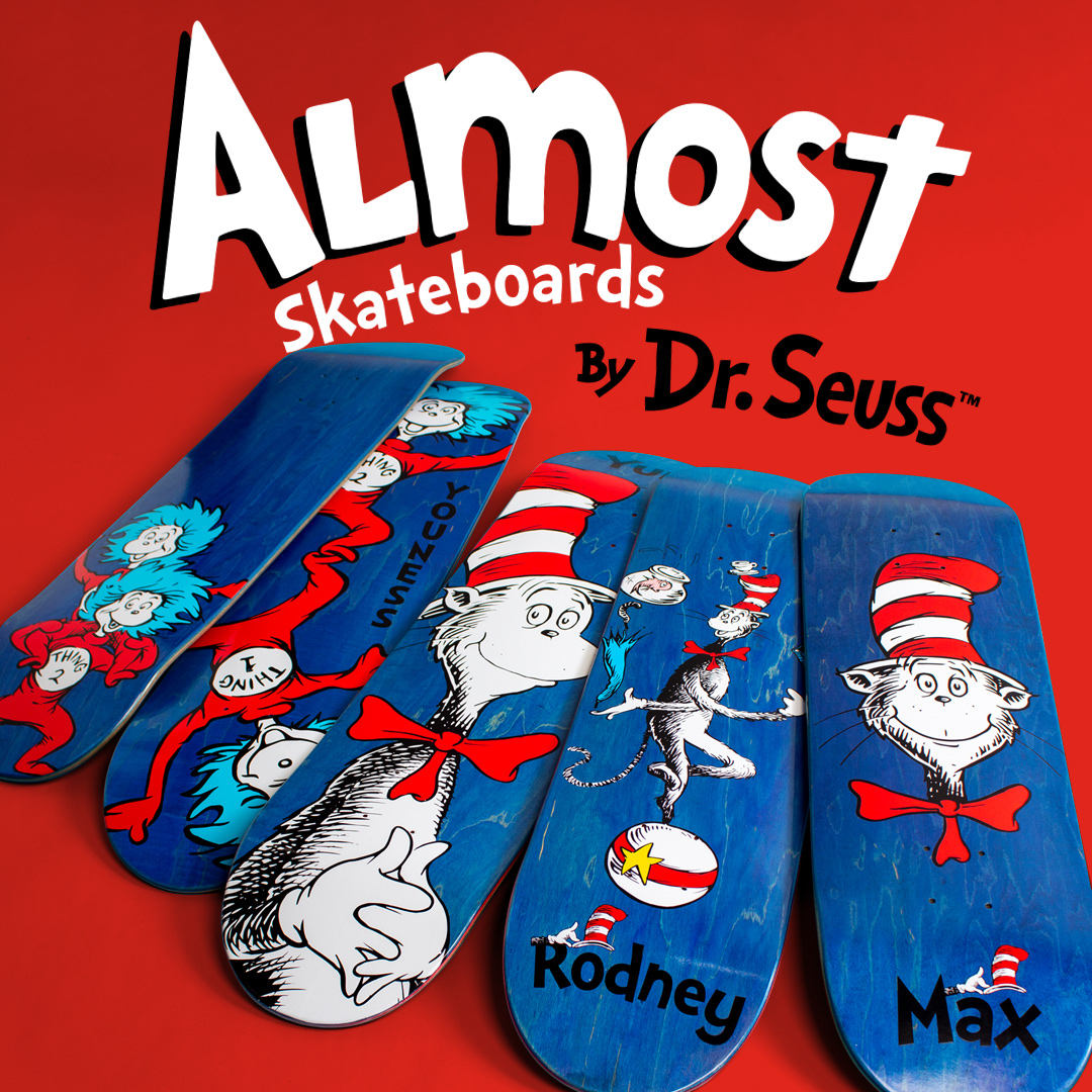 Almost skateboards dr seuss cat in the hat thing 1 things decks collab