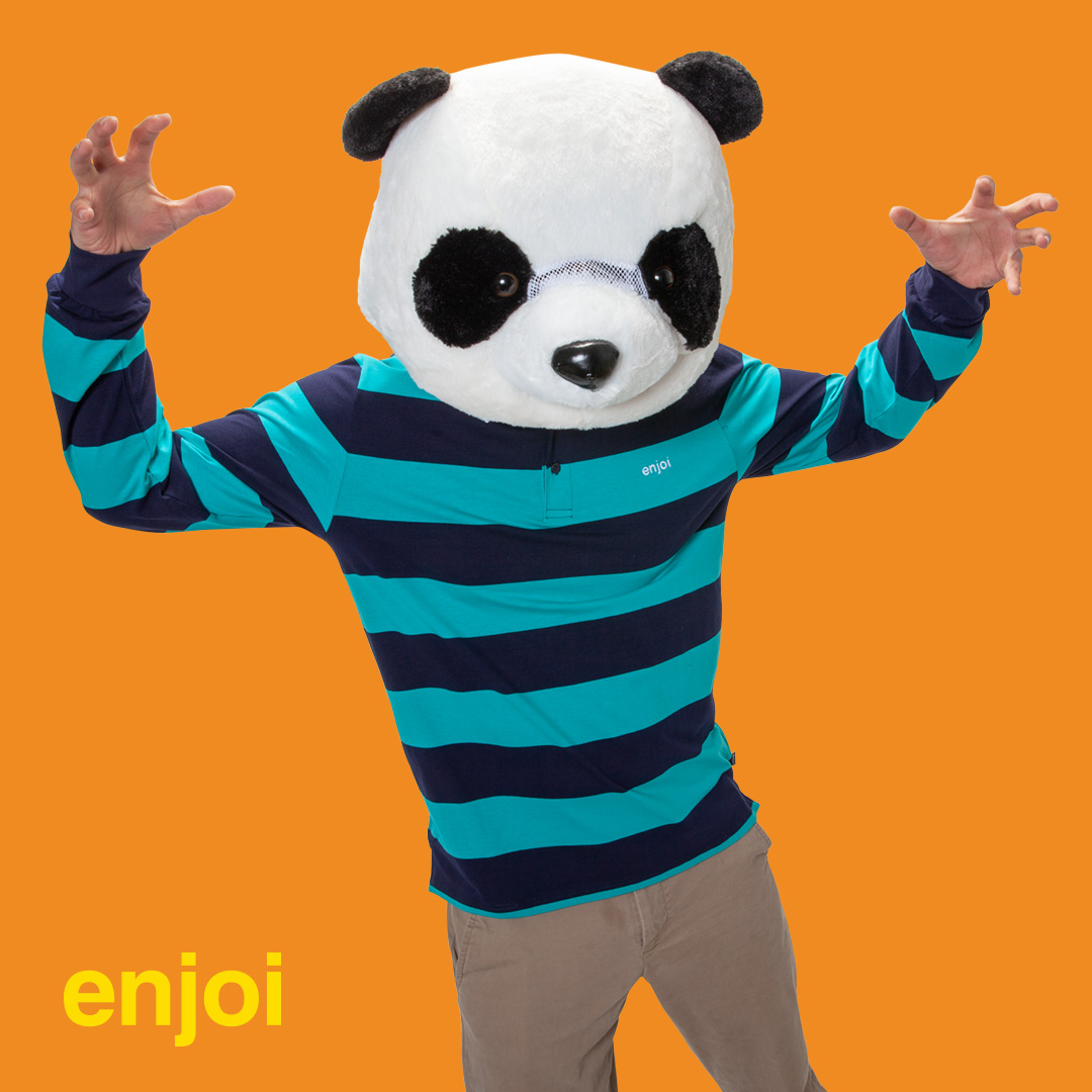 enjoi late grab polo shirt stripes panda