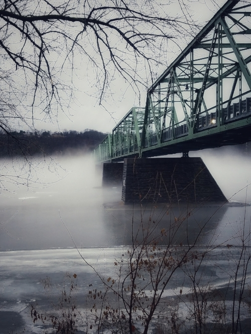 A foggy Frenchtown-Uhlerstown Bridge over the Delaware River taken by Karen Harmon.