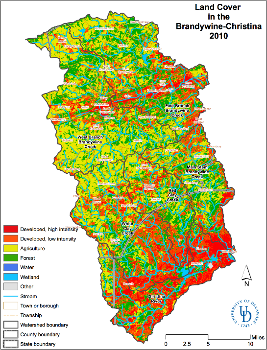 A map showing the land cover in the Brandywine-Christina Watershed from 2010.