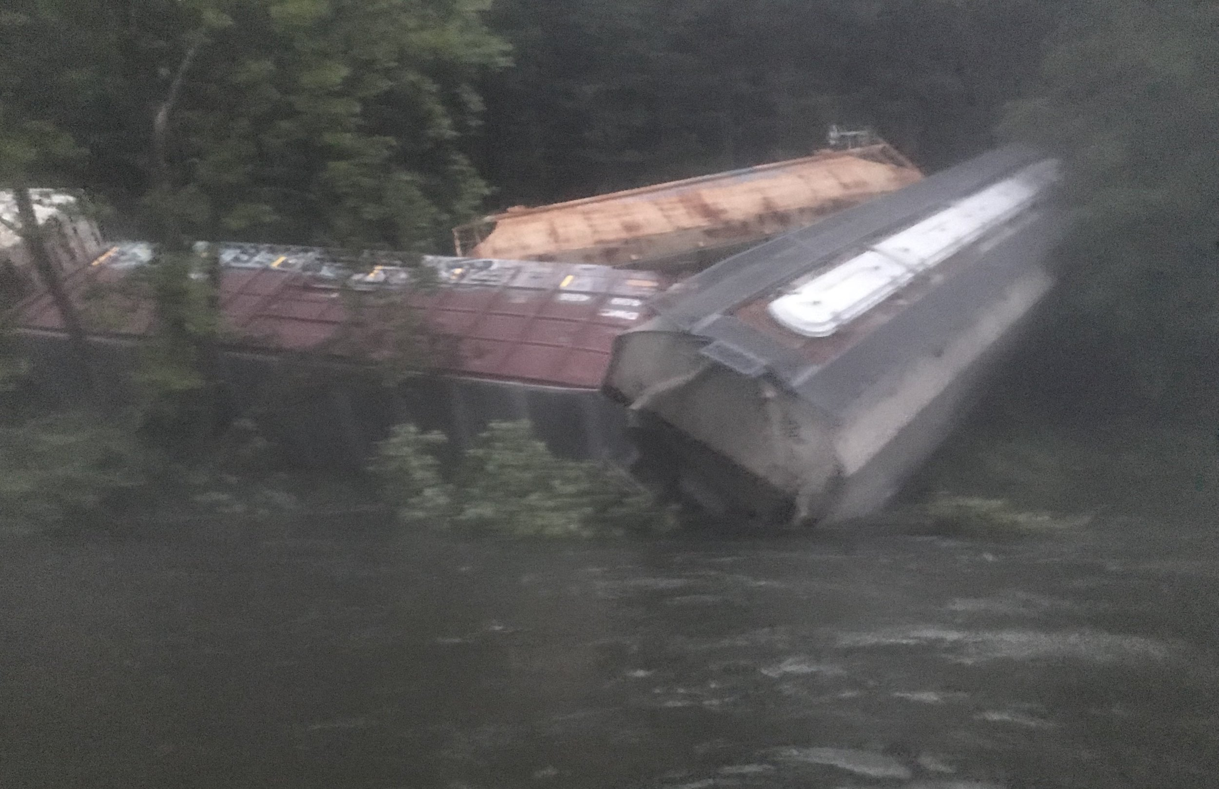 Derailed trains near Deposit, NY in the Upper Delaware River  Photo Credit: Friends of the Upper Delaware River
