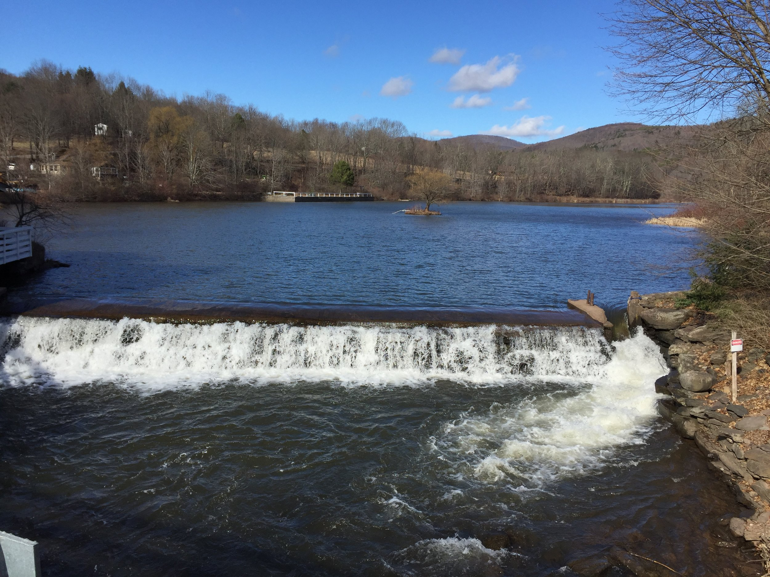 The dam on the east branch of the Delaware River in Halcottsville, NY.
